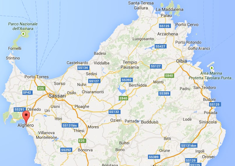 Rental Car Coupon Deals map of the Nord portion of the Sardinia with the position of Alghero