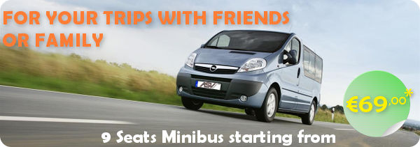 Rent 9 seats minibus starting €69